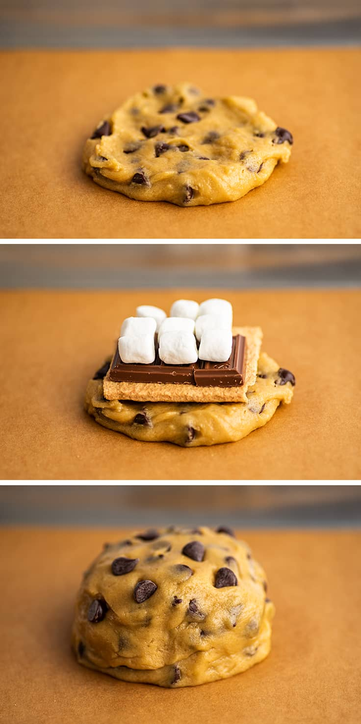 Collage of s'mores cookie being assembled.