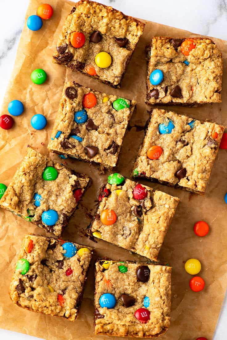Overhead photo of small batch of Monster Cookie Bars.