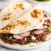 Barbacoa tacos with cilantro, white onions, and radishes on a plate.