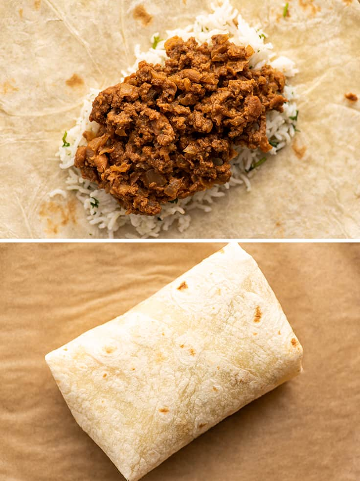 Collage photo of freezer burrito before and after being rolled.