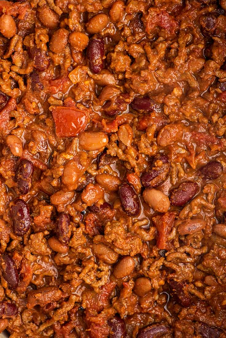 Close up photo of beef chili.