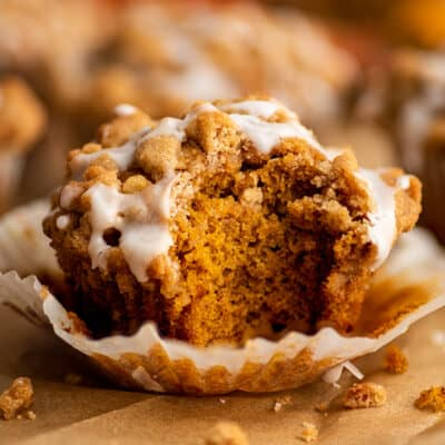 Pumpkin Streusel Muffin with a bite out of it.