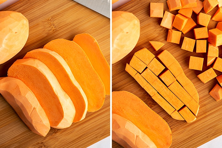 Collage photo of how to cut sweet potato cubes.