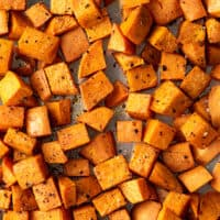 Overhead photo of roasted sweet potatoes.