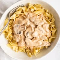 Pork stroganoff over a egg noodles in a bowl.