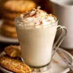 Snickerdoodle hot chocolate with whipped cream and cinnamon sprinkled on top.
