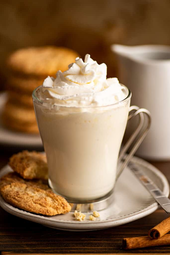Snickerdoodle hot chocolate with whipped cream.