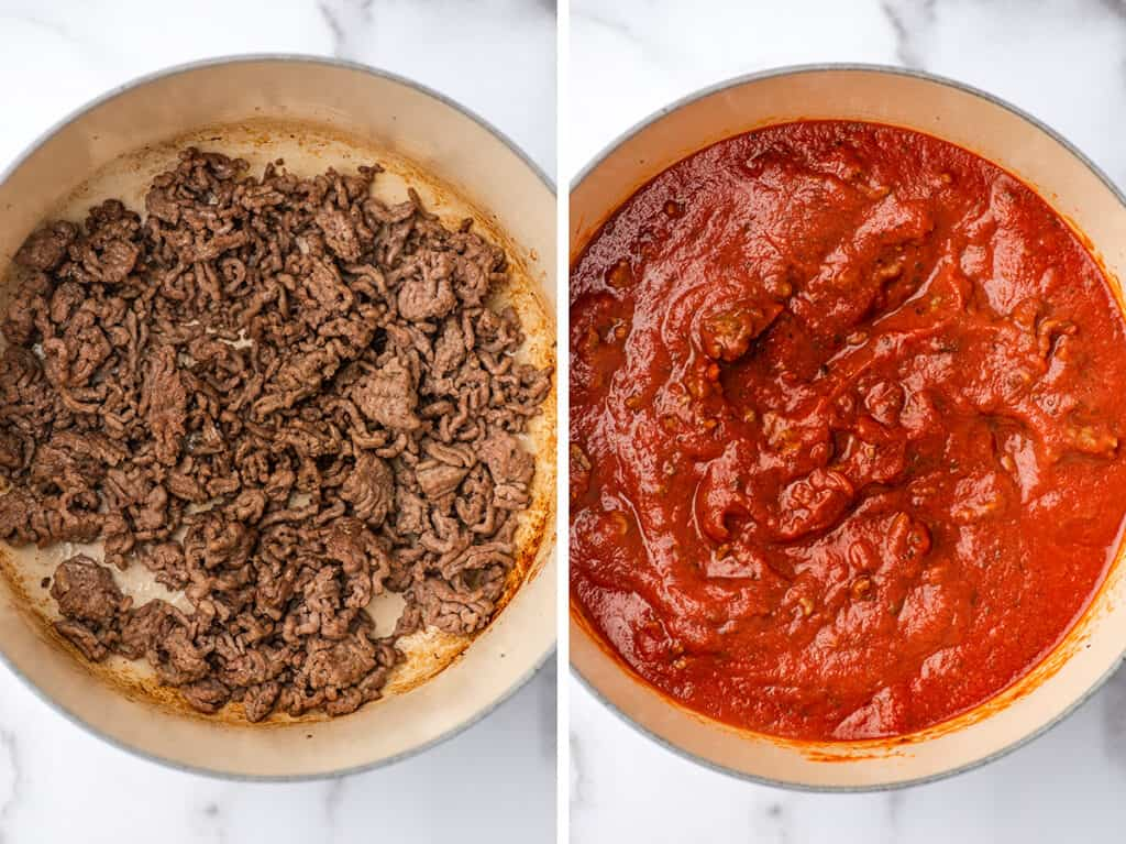 Collage photo of sauce for lasagna being made.
