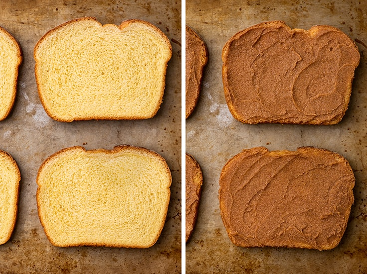 Collage photo of cinnamon toast being made.