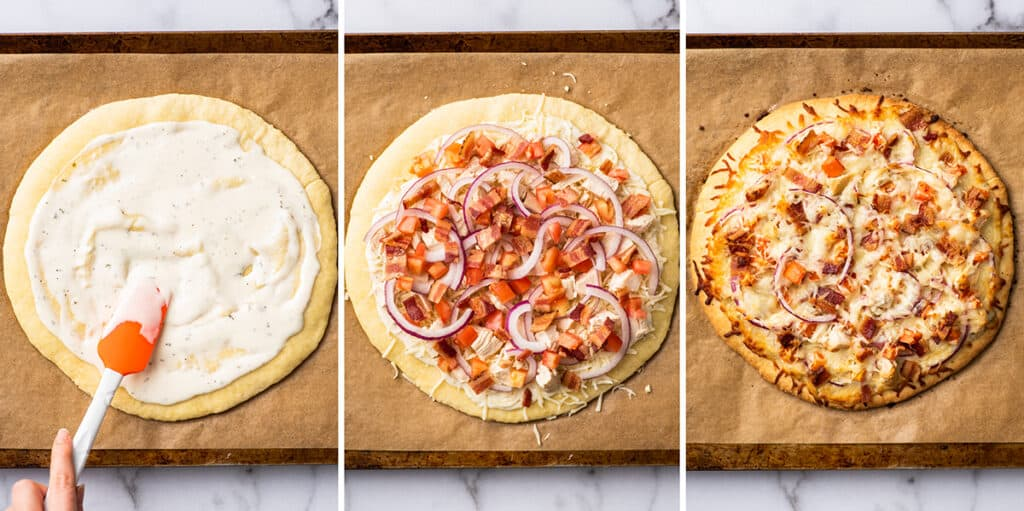 Collage photo of chicken bacon ranch pizza being assembled.