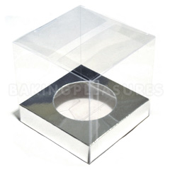 BULK Clear Mini Cupcake Boxes W Silver Insert