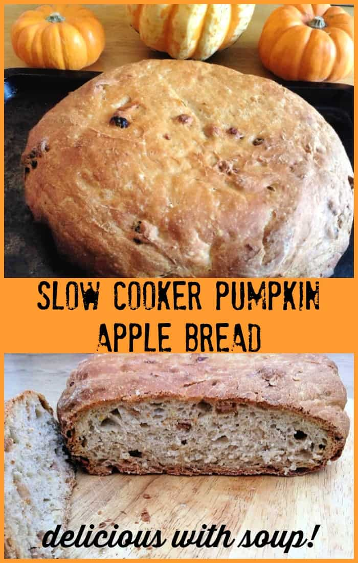 Slow cooker pumpkin apple bread - a great way to use up your Halloween pumpkin, delicious with soup
