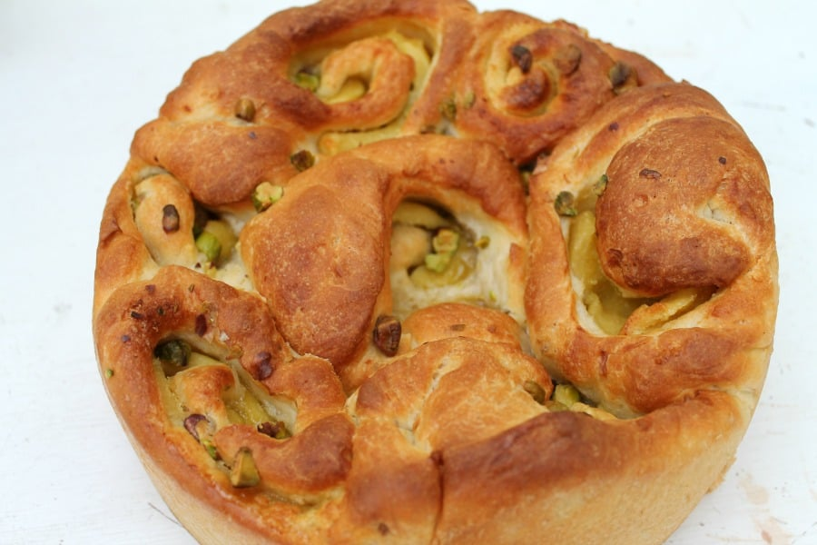 Marzipan and pistachio cardamom buns