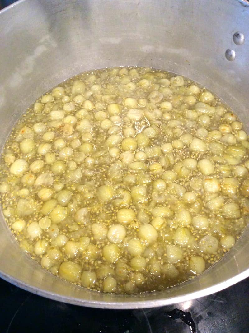 Gooseberry jam during cooking