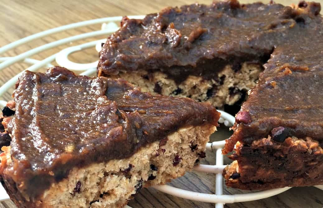 Slow Cooker Cacao Oat Slice with Date Caramel