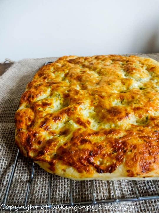 Garlic and gorgonzola focaccia - Baking in Pyjamas