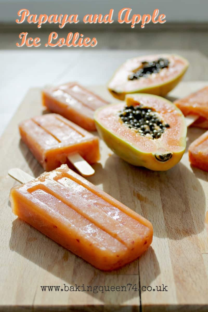 Papaya and apple ice lollies - perfect for summer and made purely of fresh fruit!