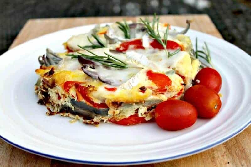 Slow cooker goats cheese and red onion frittata