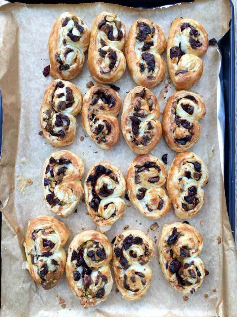 2016 GBBO bakes - Easy cranberry and pistachio palmiers