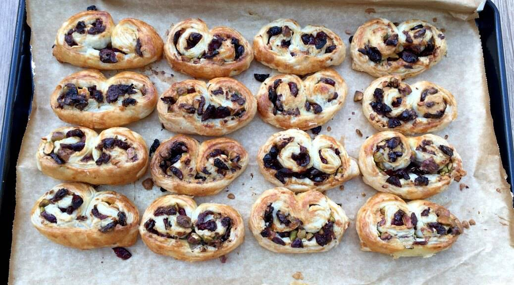 Easy Cranberry and Pistachio Palmiers
