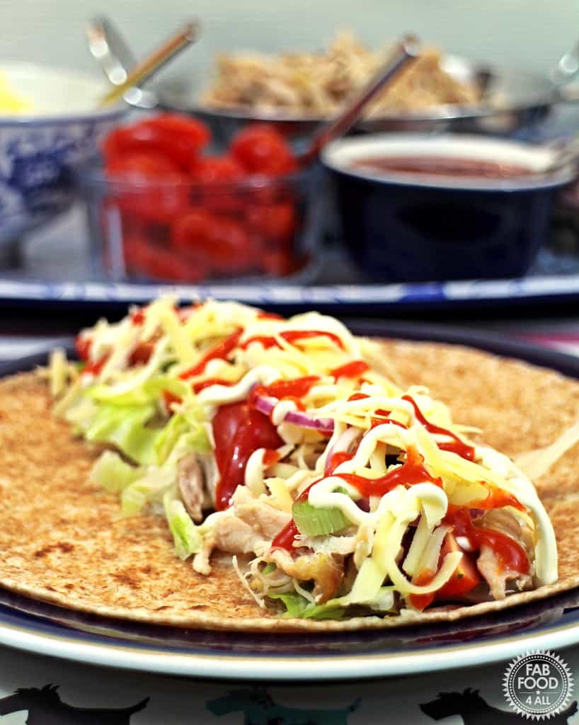 Easy cheesy pulled chicken wraps - Fab Food 4 All