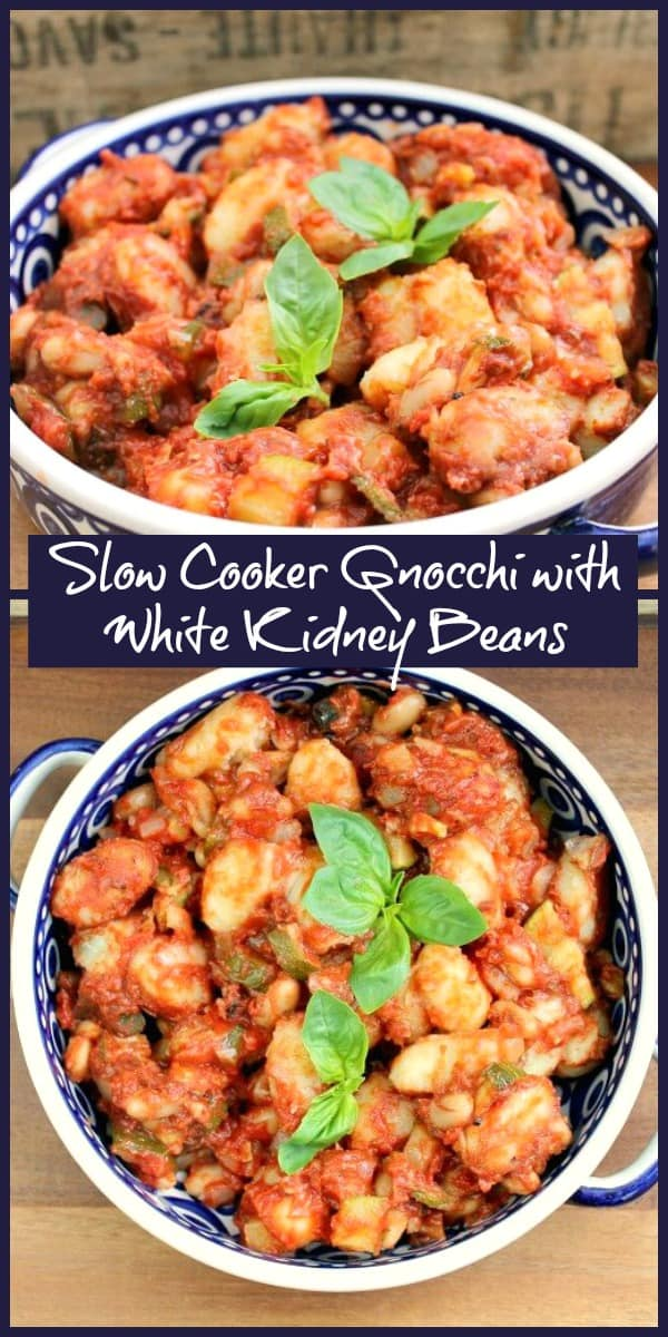 Slow cooker gnocchi with white kidney beans (cannellini beans)