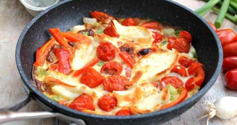 Halloumi Frittata with Red Peppers