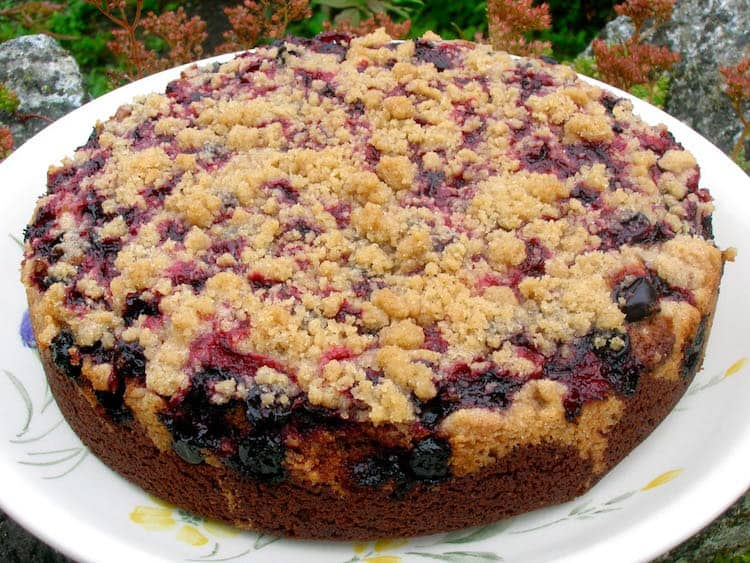 Chocolate Blackcurrant Buckle from Tin and Thyme
