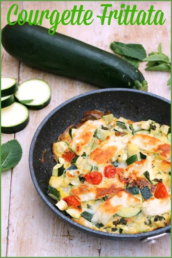 Courgette (zucchini) and mint frittata with halloumi