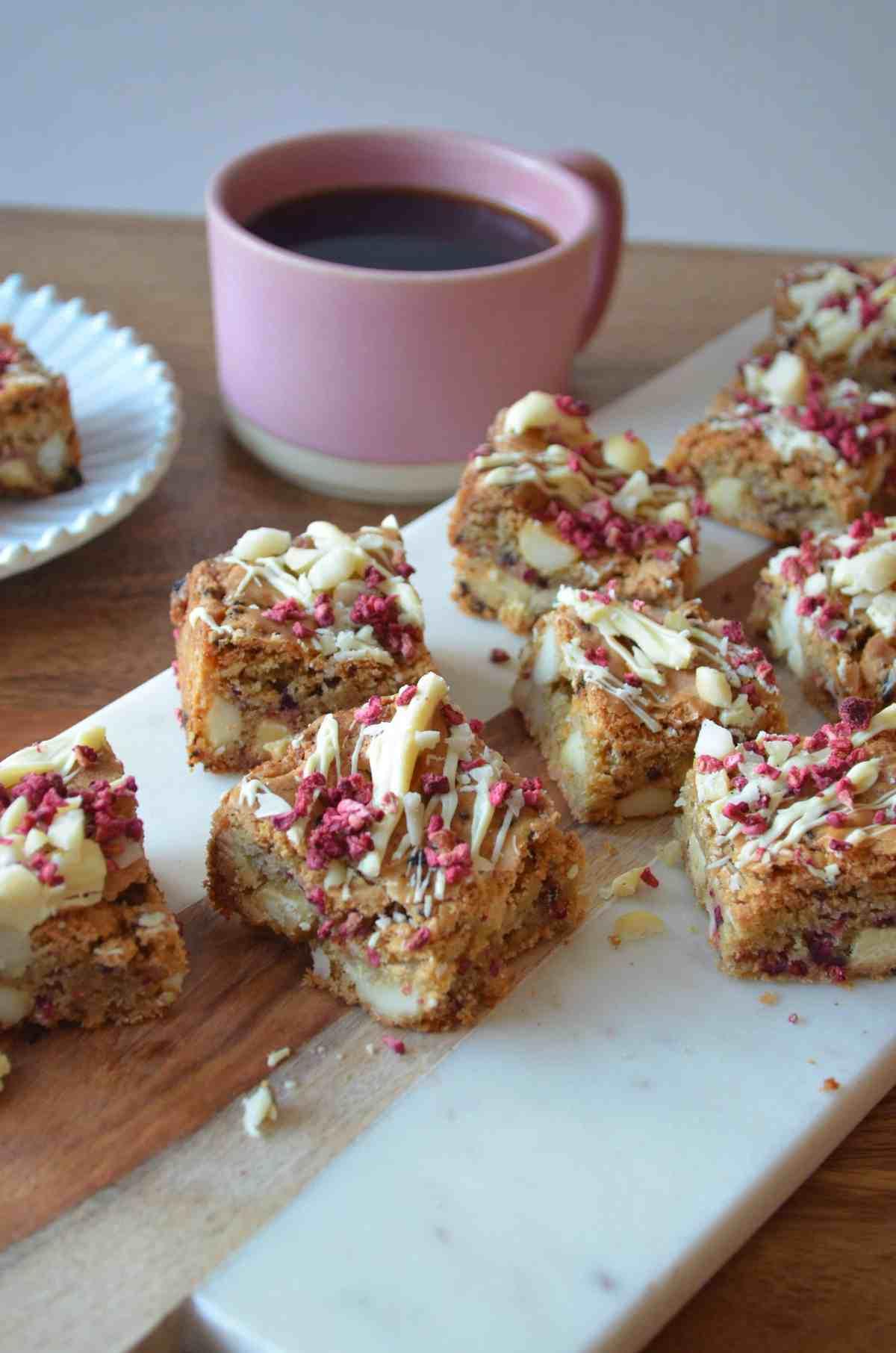 white chocolate raspberry and macadamia nut blondies