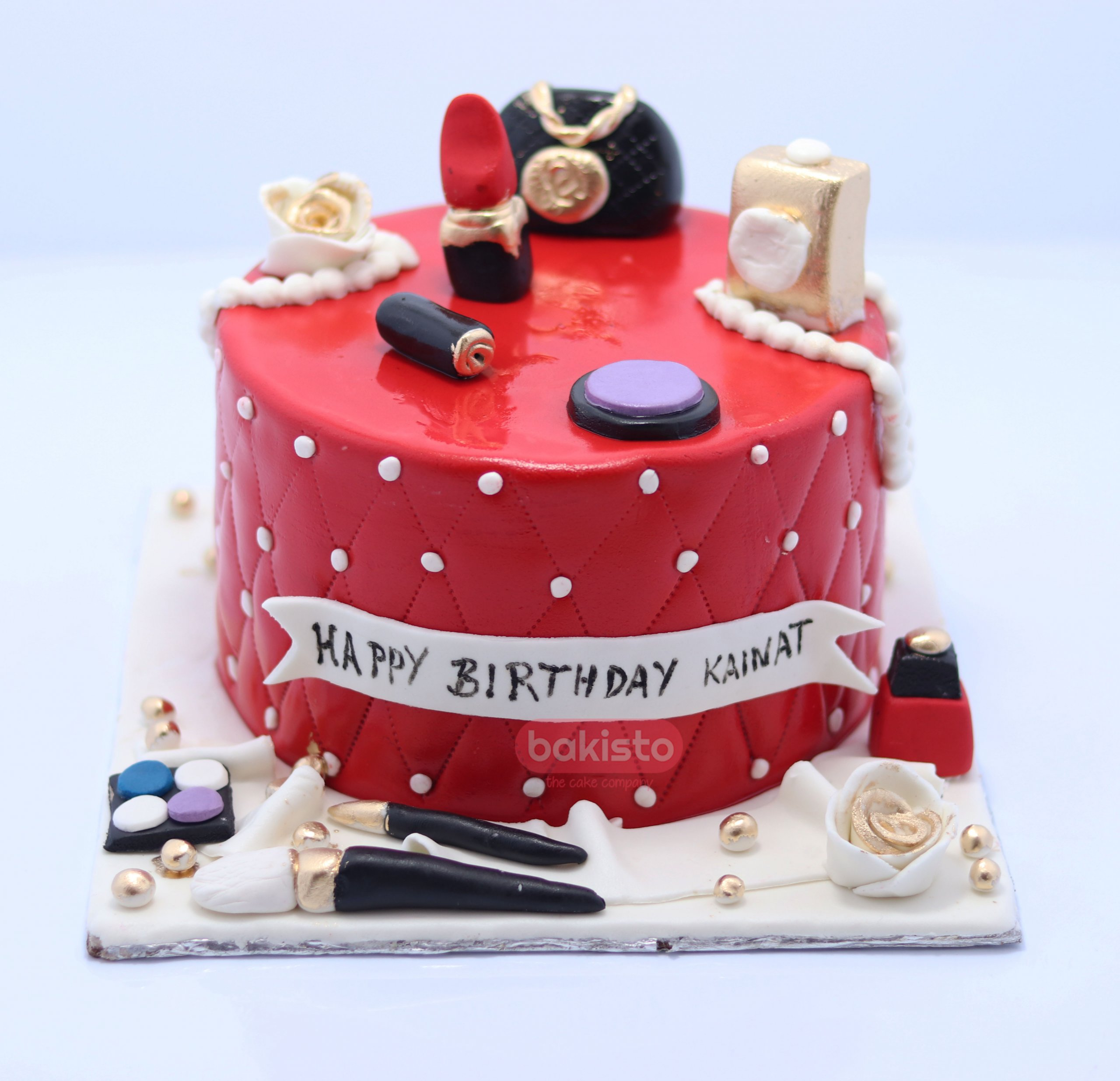 Swell Red Makeup Birthday Cake Bakisto Pk Lahore Free Delivery Birthday Cards Printable Benkemecafe Filternl