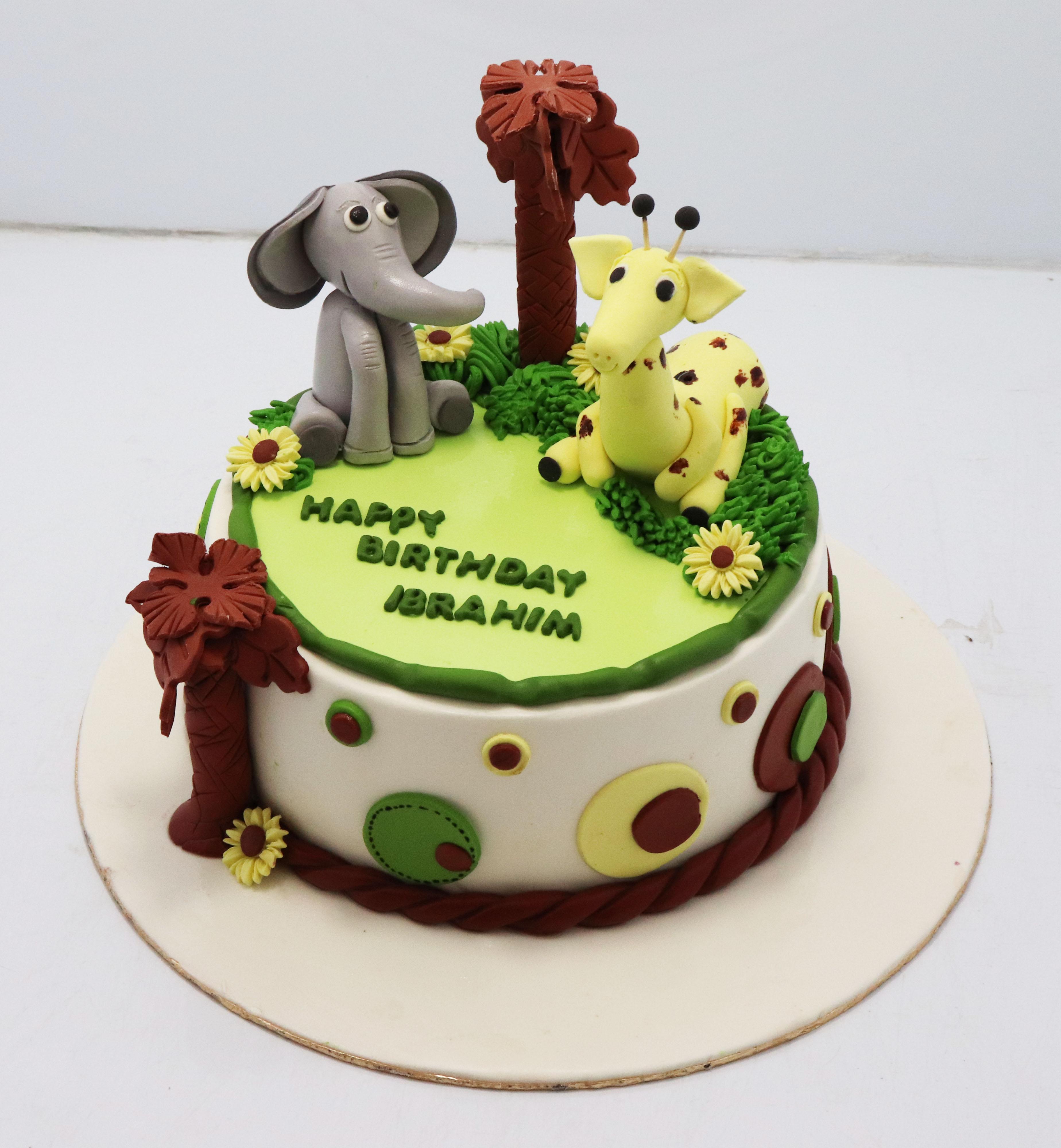 Terrific Jungle Animal Theme Birthday Cake Jungle Theme Cake Without Fondant Funny Birthday Cards Online Inifofree Goldxyz