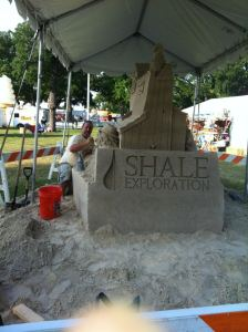 Sandpile Creations formed a tribute to Shale Exploration's sponsorship of Mayfest's Market area.