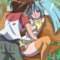 Runo Misaki and Dan Kuso having sex on park bench in a middle of a day!
