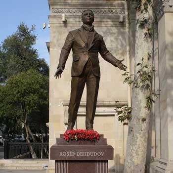 Monument to Rashid Behbudov. Rashid Behbudov statue