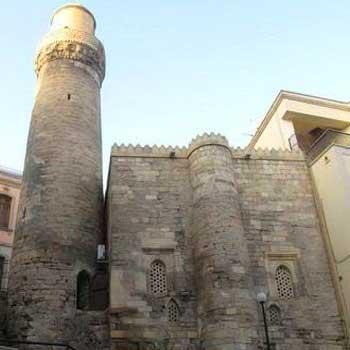 Siniq qala mosque. Mohammed mosque and minaret in Baku