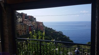 Picture window at lunch in Corniglia