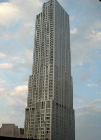 Beekman Tower, tallest residential building in NYC and a Frank Gehry design, as seen from Dan and Melissa's