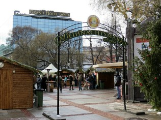 German Christmas Market, where we enjoyed mulled wine. Grand Hotel Sofia is in the background - where foreign celebs stay when they visit Sofia