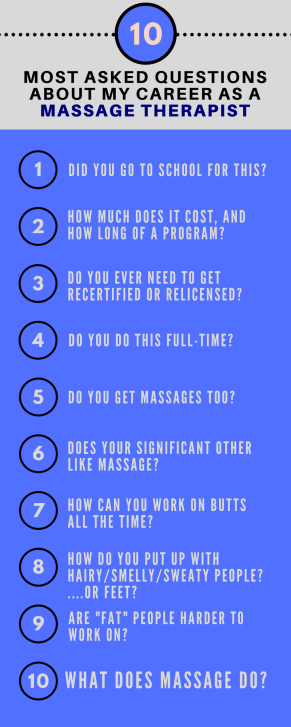 10 most asked questions about my career as a massage therapist. Do you have these same questions? Here are my answers!