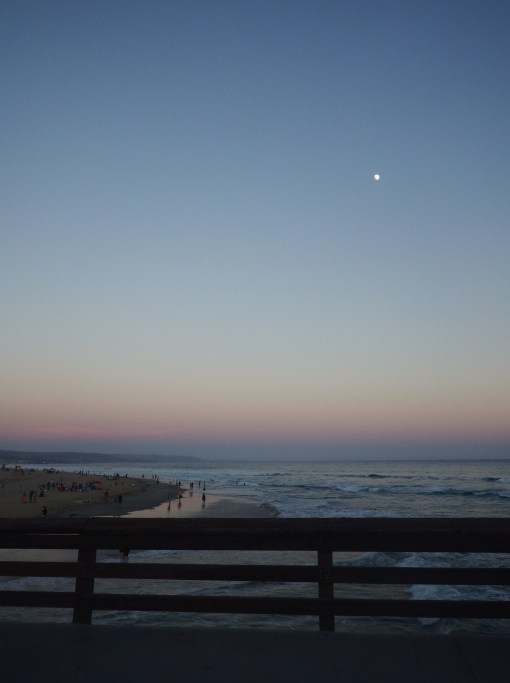 moon over newport beach pier