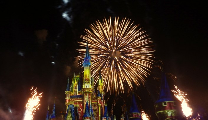 happily ever after fireworks yellow castle