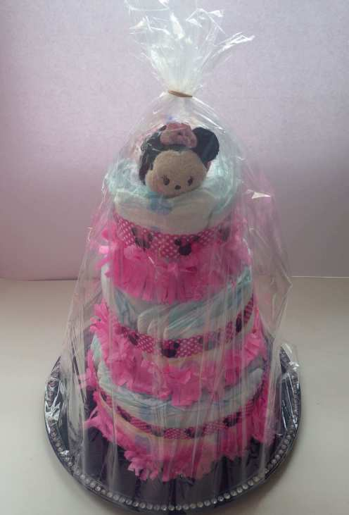 diy diaper cake in plastic
