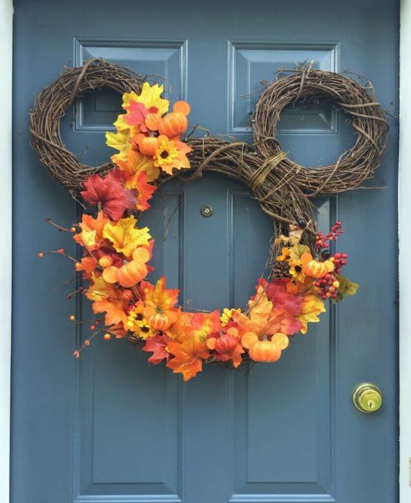 Fall decor ideas DIY Mickey wreath