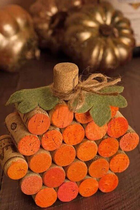 Fall decor ideas Dining Room Wine Cork Pumpkin