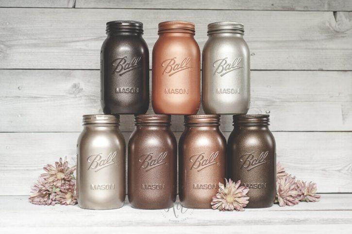 Fall decor ideas metallic mason jars