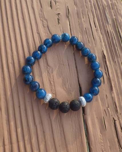 Aromatherapy diffuser stretchy bracelet - blue/black