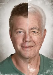 Meditation and Aging: A man is shown with a split face highlighting the difference between chronological age and biological age.