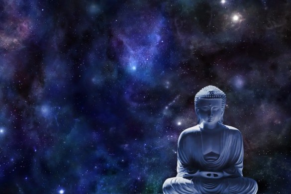 Internal Conflict Inquiry Meditation: The Buddha is shown in a meditation posture with the universe in the background.