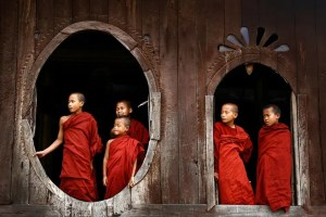 6 Children, who are Buddhist monks, are shown. They live in Myanmar.